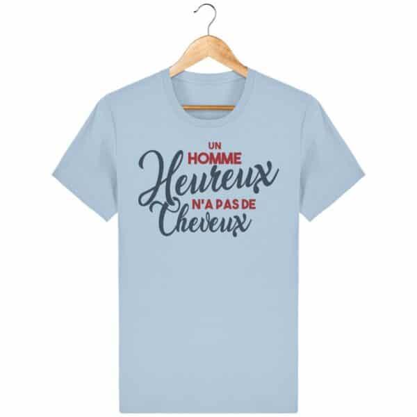 """T-shirt homme """"Un homme heureux n'a pas de cheveux"""""""